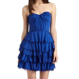 Rebecca Taylor satin sapphire blue bustier dress 8
